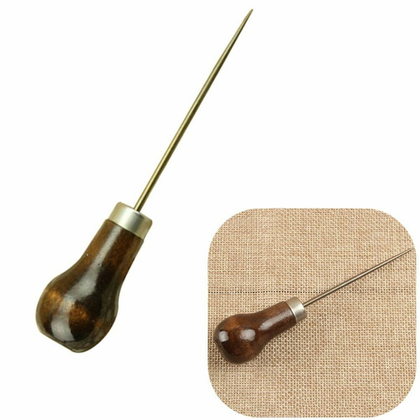 10pc Leather Wooden Handle Awl Tool for Leathercraft Stitching Sewing for Make Bag Fitting