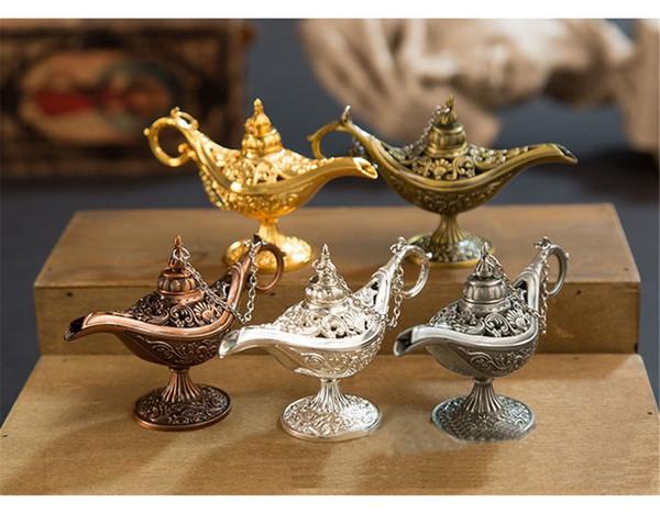 Queimadores de Incenso Antigo Estilo Conto De Fadas Lâmpadas Mágicas Pote de Chá Genie Lâmpada Retro Vintage forno Retro Brinquedos Para As Crianças Presentes de Decoração Para Casa