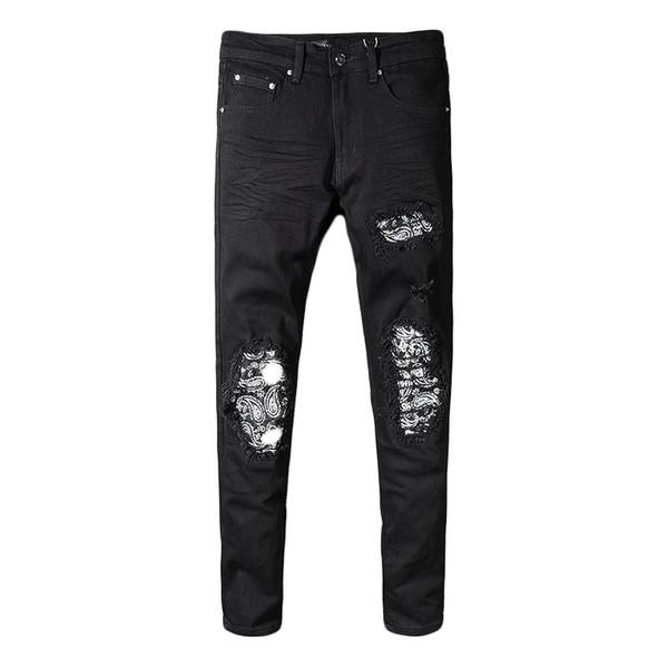 Fashion Streetwear Men Jeans Slim Fit Destroyed Ripped Jeans Men Black Color Patch Designer Punk Pants Hip Hop Jeans Pencil Pants