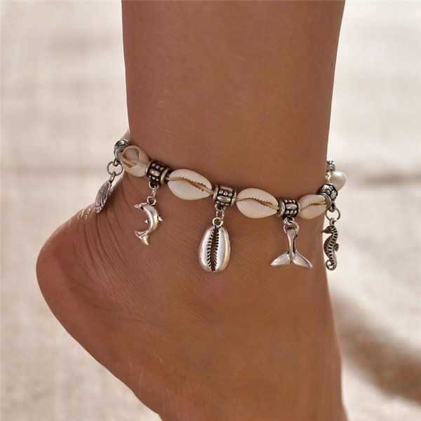 NEWBUY Silver Color Dolphin Seahorse Charm Bracelets For Ankle Hot Sale Boho Natural Shell Anklets For Women Girl Gift