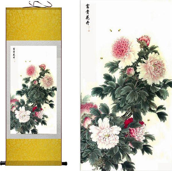 花开富贵 Chinese Silk Scroll Painting Peony /& Butterfly Home Office Decoration