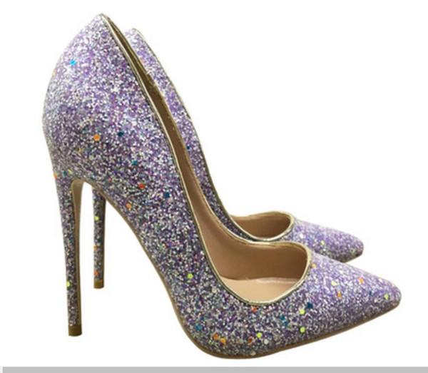 Paillettes jaunes pourpre chaussures rouges à talons hauts pour femmes 8cm 12cm 10cm grande taille 45 Cusp Fine robe de mariée talon Bouche peu profonde Chaussures simples