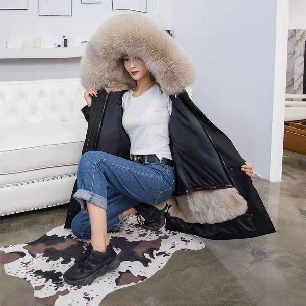 Moda Invierno Parka Mujer Nuevo Desmontable Real Piel de conejo Forro Abrigo Grueso Big Fox Fur Collar Abrigo con capucha Chaqueta Parka Mujer