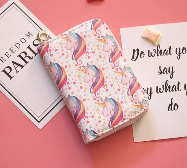 Leder Einhorn Handtaschen Geldbörsen Hohe Qualität Frauen Kurze Geldbörsen Cartoon Kleine Handtaschen Münzbeutel Koreanischen Stil Großhandel