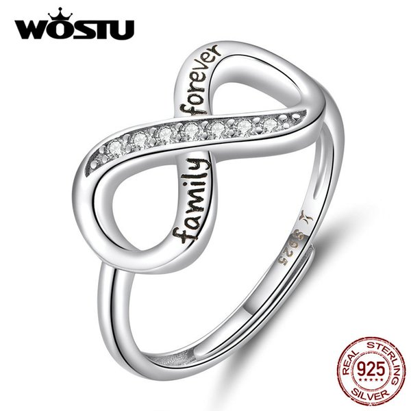 wholesale S925 Infinite Love Rings For Women 100% Real 925 Sterling Silver CZ Ring Mean Happiness & Beauty Jewelry Gift BKR579