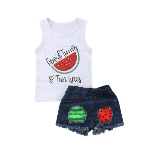 Hot Sale Baby Boy Clothes New Kids Baby Girl Vest Tops Shorts Pants Ripped Jeans Summer Clothes 1-5 Years