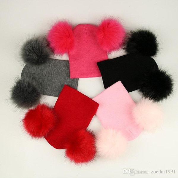 Hot Winter Baby Knitted Hat With Two Fur Pompoms Boy Girls Fur Ball Beanie Kids Caps Double Pom Hat for Children