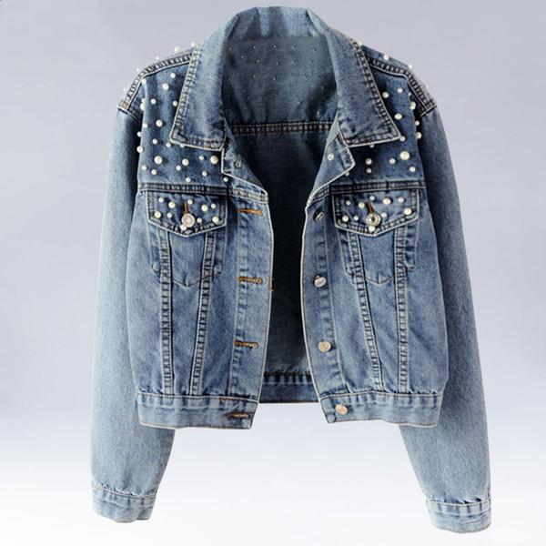VOILE LU Perles Perles Court Denim Vestes Femmes Lavé À Manches Longues Jeans Outwear Vintage Casual Jacket Denim Manteaux WWJ960