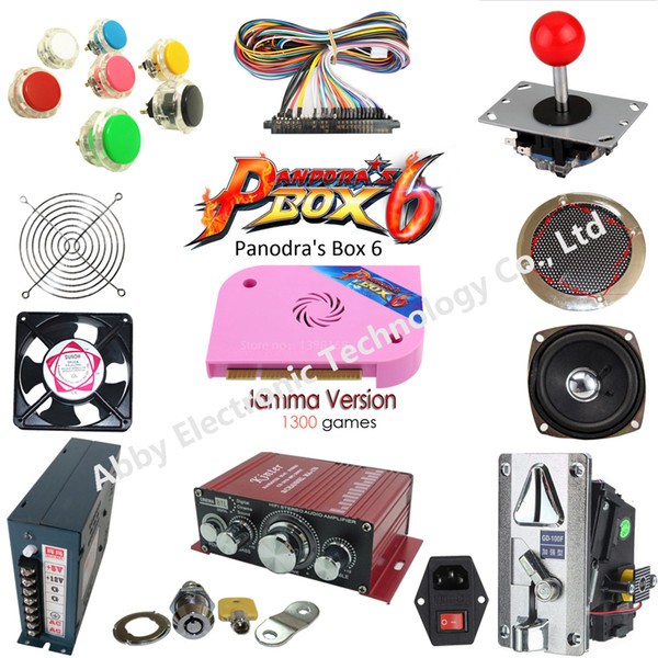 Arcade parts Bundles kit With Joystick Pushbutton Microswitch Player button Speaker 1300 in 1 PCB to Build Up Arcade Machine