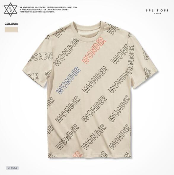 T-shirt a maniche corte Tide marchio maschio 2019 estate europea e americana moda sciolto casuale lettera stampa maschile