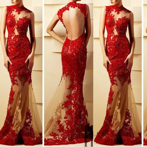 Illusione sexy Appliques del merletto puro sera della sirena Abiti Piano Lunghezza Prom Dresses per il partito su ordine