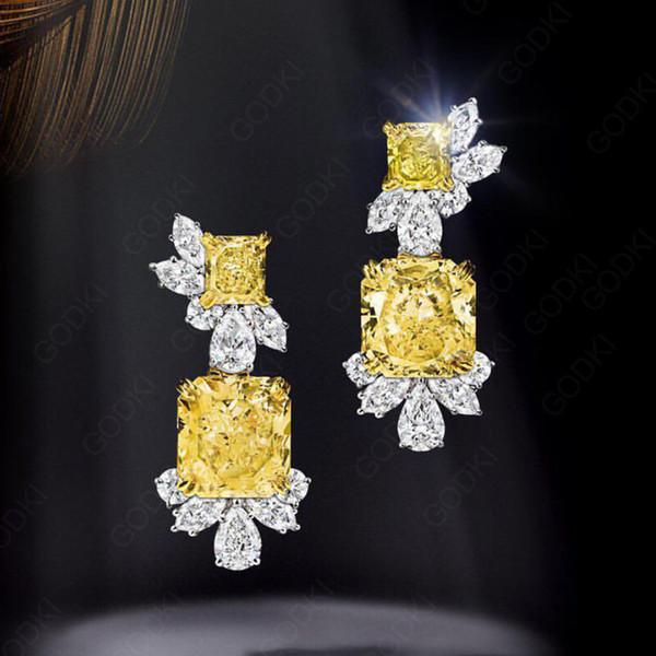 Godki Trendy Geometric Yellow Cubic Zircon Crystal Cz Drop Dangle Earring For Women Bridal Earring Aretes De Mujer Modernos 2018 J190520