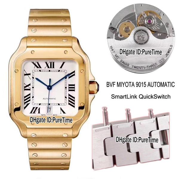 La mejor edición BVF WGSA0009 18 quilates de oro amarillo esfera blanca Miyota 9015 Mens automático Watxch SmartLinks Pulsera de cambio rápido Relojes Puretime
