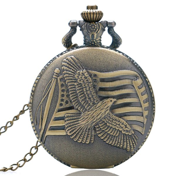 Vintage Bronz Amerikan Bayrağı Izle erkek ve kadın Amerikan Hatıra Barış Güvercin Kuvars Pocket saat Kolye