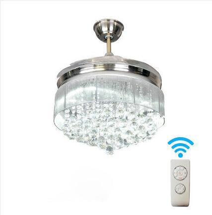 42inch 3Colors Ceiling Fans Lamp Invisible Blades Ceiling Fans crystal Fan Lamp Living Room Bedroom LED Ceiling fan light 110V -220V