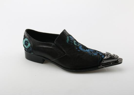 New 2019 Men dress Shoes Cow Leather Floral Print Handmade Italian Shoes Silver Metal Head Male Shoes Man Slip-on
