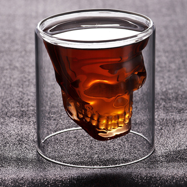 75ml Creative skull glass transparent Double wall Skull Wine Cups heat resistant Cocktail Cup Mug juice coffee Wine Glasses LJJA3760-2