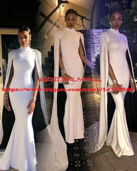 Elegant 2019 High Neck African Evening Dresses Mermaid With Cape Long Sleeves Holiday Wear Pageant Prom Party Gowns Custom Robe de soirée