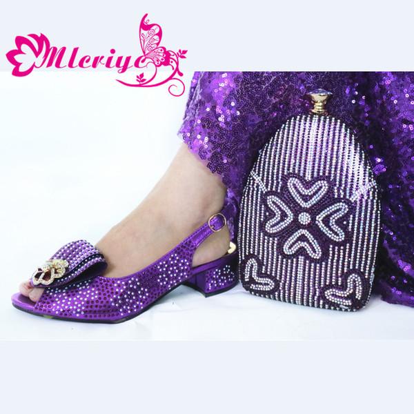 Sexy Ladies zapatos italianos con zapatos a juego del partido bolsas del conjunto de Nigeria de las mujeres y bolso fija color púrpura alto de las mujeres sandalias