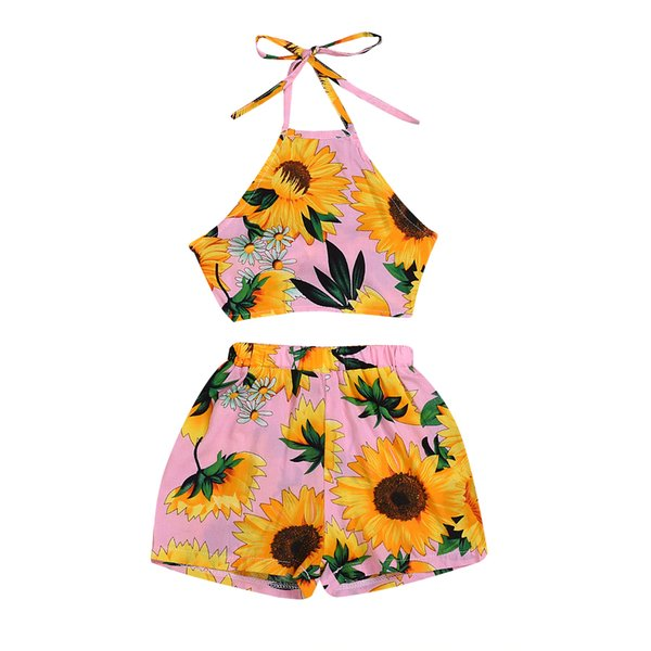 Baby Sunflower Outfit 2019 Summer Baby Girl Clothes Sweet Pink Tanks Strap Vest Top + Shorts Newborn Infant Baby Clothing Set