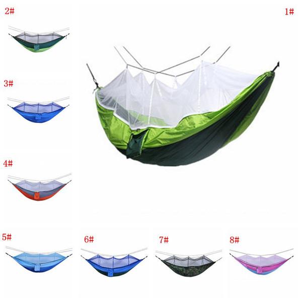 260 * 140 centimetri zanzariera amaca all'aperto paracadute panno amaca campo tenda da campeggio giardino campeggio altalena appeso letto con corda gancio DBC VT1736