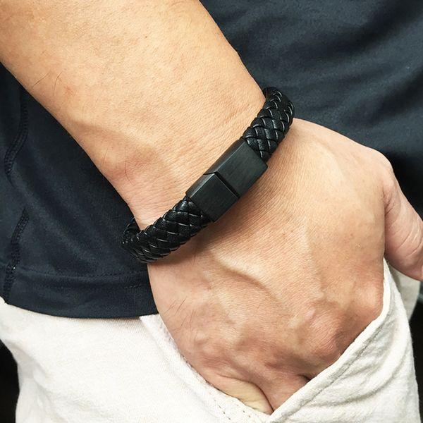 Braccialetto di cuoio intrecciato gioielli da uomo Braccialetto fatto a mano Chiusura magnetica trendy Polsino in pelle maschile Nuovo arrivo