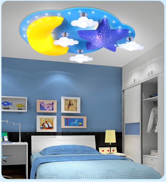Yaratıcı Karikatür yıldız ay çocuk odası yatak odası tavan lambası led erkek ve kız karikatür çocuk odası aydınlatma