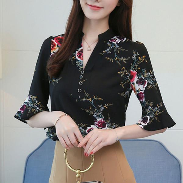 2019 femmes top et chemisiers femme chemise élégante dames coréenne de la mode vêtements femmes manches courtes, plus la taille nouvelle impression mince