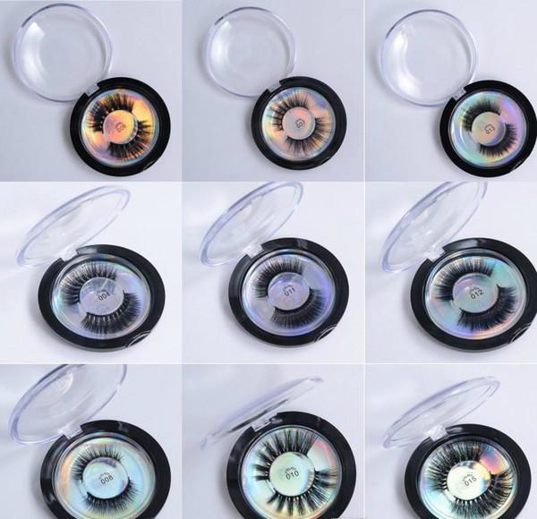 Mink Lashes 3D Silk Protein Mink False Eyelashes Long Lasting Lashes Natural Mink Eyelashes Round Box Packaging