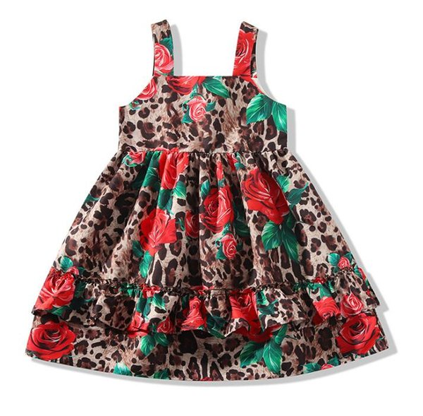2Y-6Y Fashion Leopard Floral Leisure Dresses for Baby Girls Summer New Rose Patterns Flare Dresses for Beach Party