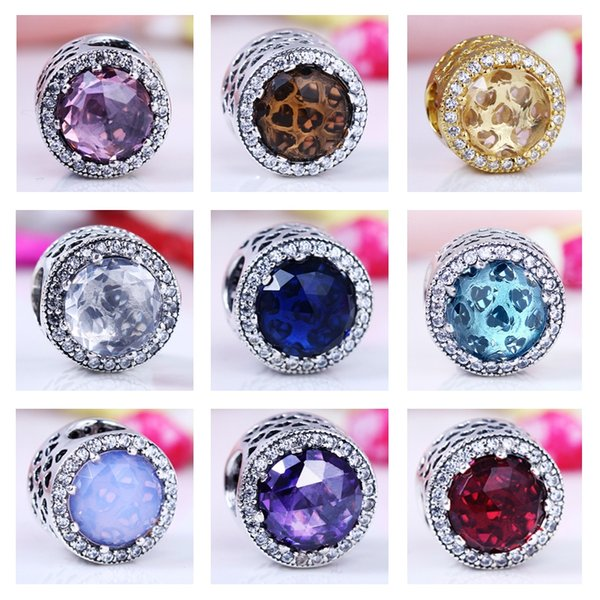 2017 New Authentic Real 925 Sterling Silver Cubic Zirconia European Charms Bead Fit Pandora Chain Bracelet DIY Fashion Jewelry
