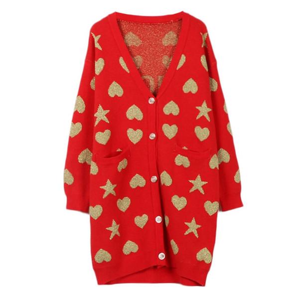 Sheen Gold Heart Star Pattern Long Cardigan 2018 Autumn Winter Tops Chic Brand Pockets Knitted Oversized Sweater Streetwear Coat