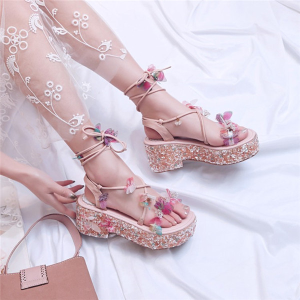 New ladies Thick heel sandals woman shinny dress shoes fashion fairylike butterfly sandal buckle ornament lace up party skirt matching