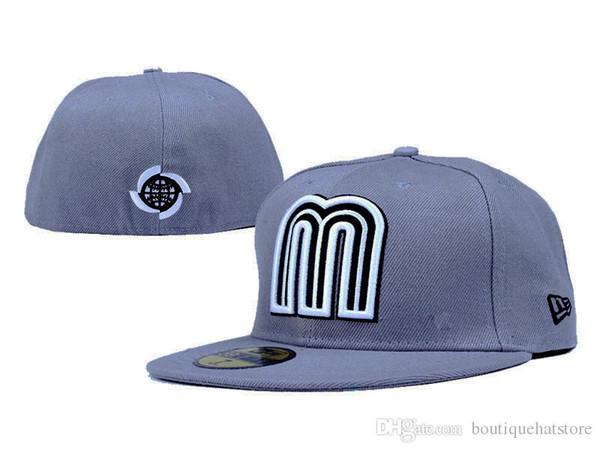 2019 in Messico. Protezioni misura baseball nel colore grigio Lettera M Logo Sport chiuso donna Cappelli all'aperto Hip Hop Chapeau Ossa