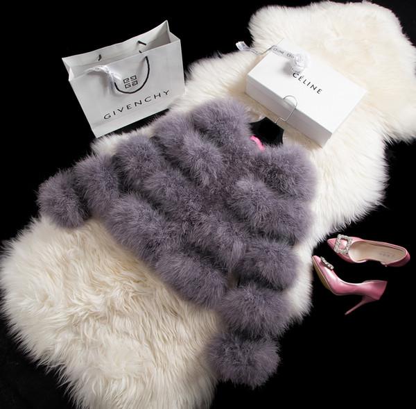 Devekuşu tüyü ceket kadın kısa tasarım patchwork şifreleme o-boyun uzun kollu PU deri ve Devekuşu tüyü kadın ceket
