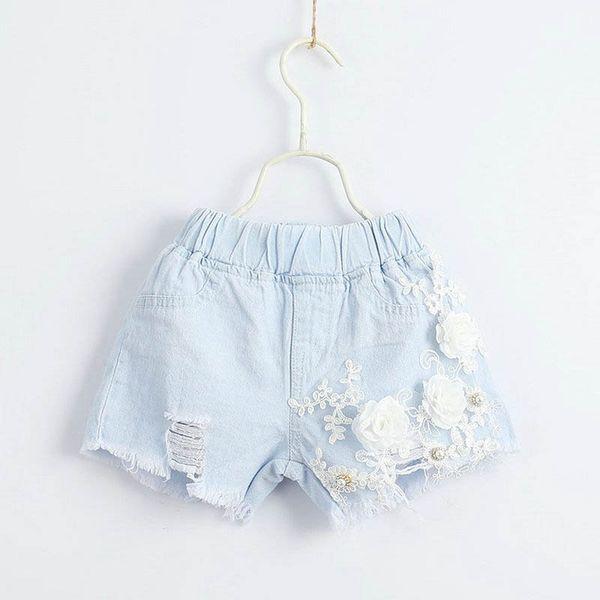 Лето 2019 Новые цветочные шорты для девочек жемчужные кружева девушки Жан шорты детские брюки детская дизайнерская одежда женская одежда детская одежда A4521