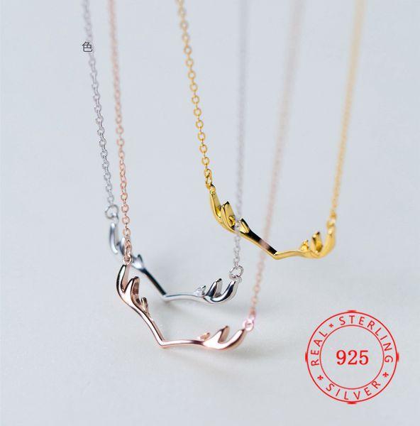 collar de asta joyería de plata esterlina real chapado en oro hermoso cuerno de reno regalo de Navidad damas Minimalista joyería para mujer