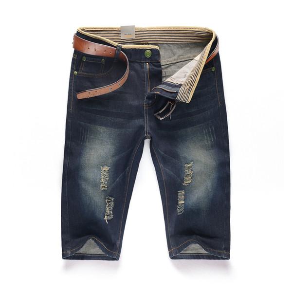 Frete Grátis 2016 Novos Homens de Verão Calça Jeans Casual Bermuda Masculina quinto Calças Fino Hetero Buraco Denim Curto Plus Size 38