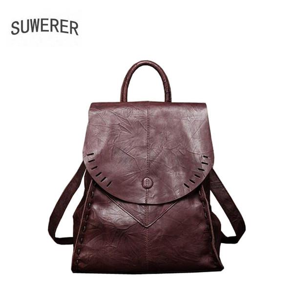 SUWERER 2019 New Women Genuine leather bag famou brand real leather women backpack Wild fashion big capacity female backpack