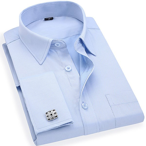 Men 's French Cufflinks Business Dress Shirts Long Sleeves White Blue Twill Asian Size S, M, L, XL, XXL, 3XL, 4XL, 5XL, 6XL C19011001