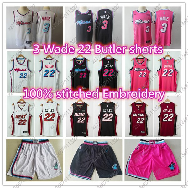 top popular 2019 News Cheap dwayne 3 wade Jimmy 22 Butler Miamis city Heats 100% stitched jersey game player's basketball jerseys 2019