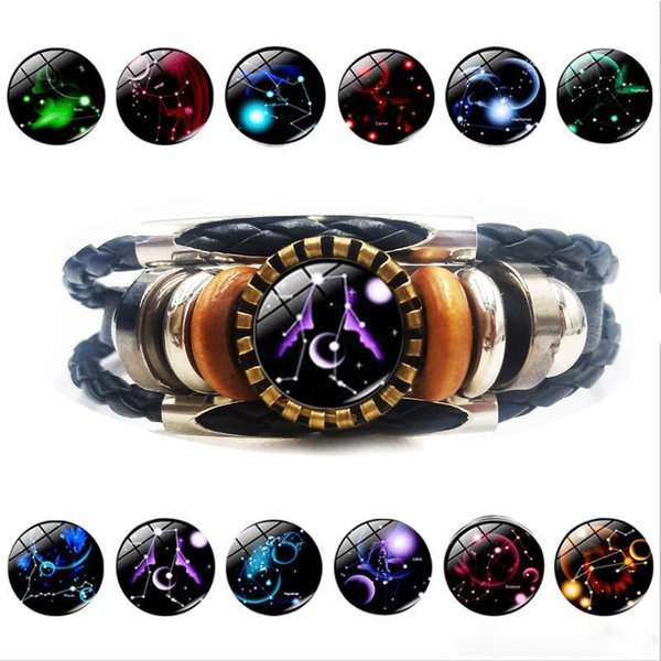 Newest 12 Zodiac Sign charm bracelet For Women Men vintage Horoscope Hobby Multi layered Leather Wrap Bangle Fashion Jewelry