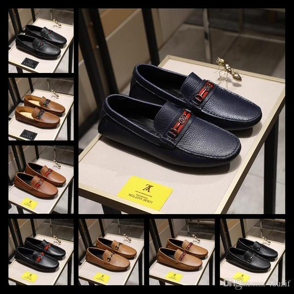Italion Luxury Rhinestone Mocasines hechos a mano de cuero en punta zapatos de boda en punta Zapatos de vestir de los hombres ocasionales
