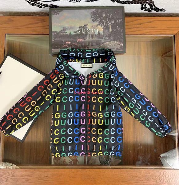 Boy jacket kids designer clothing new autumn long sleeve hooded trench coat inner breathable mesh design color letter print boy coat