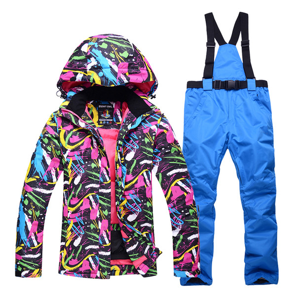 Autumn and winter professional ski suits ladies outdoor windproof waterproof wear-resistant warm snow ski jacket+ski pants women