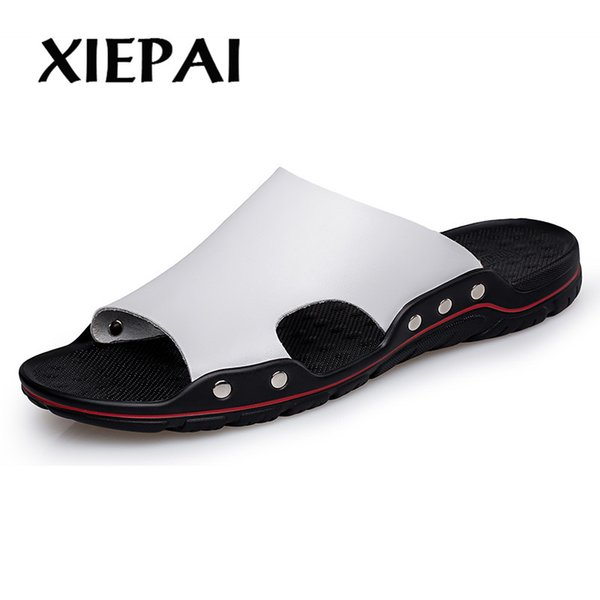 wholesale Men Casual Slides Slip-on Slippers Plus Size 38-48 Solid Color Concise Design Male Summer Beach Shoes Leather Sandals
