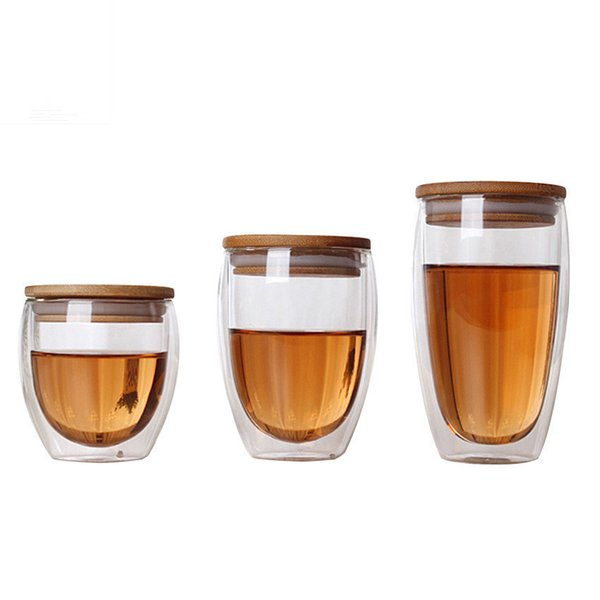 Double Wall Glass Tea Cup Coffee Mugs Transparent Insulation Glasses Cups With Bamboo Lid Creative Vaso Caneca Beer Wine Verre C19041302