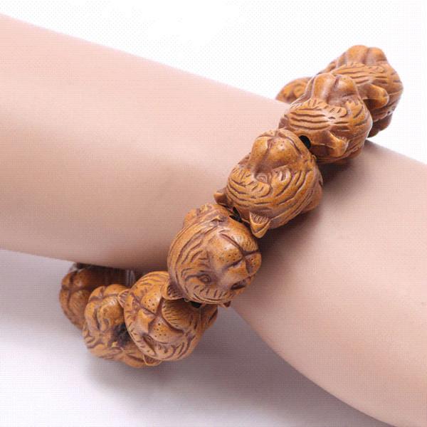 Two Face Tieger Wood Beads Animal Bracelet Men 14mm 18mm Tiger Beads Women Bracelets & Bangles