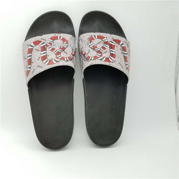 2019 qualität Luxusmarke Designer Männer Sommer Sandalen Strand Rutsche Mode Hausschuhe Hausschuhe Tiger Blumen Schlange