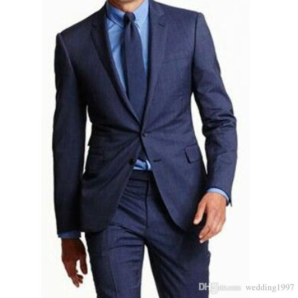 Men Suits for Groom Tuxedos Wedding 2019 Two Piece Business Navy Blue Notched Lapel Trim Fit Blazer Latest Style Jacket Pants